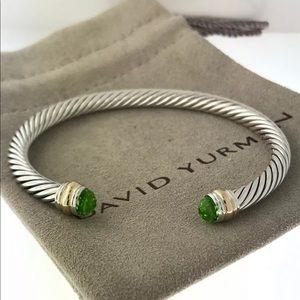 David Yurman silver & 14k Gold Bracelet W/ Peridot